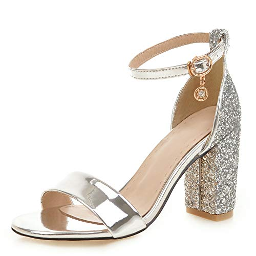 DecoStain-Womens-Glitter-Sequin-Pumps-Shoes-Ankle-Strap-Block-Heel-Party-Wedding-Dress-Sandals-Silver-0