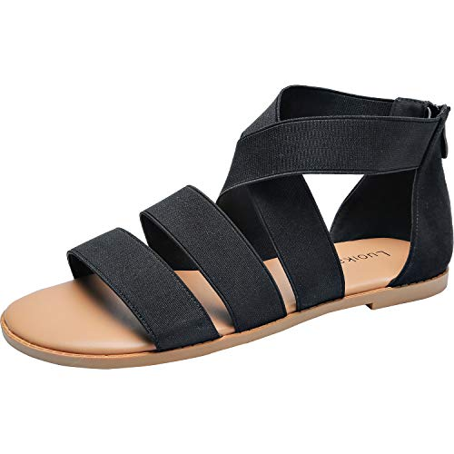 Luoika-Womens-Wide-Width-Flat-Sandals-Gladiator-Elastic-Back-Zipper-Casual-Summer-Shoes181161Black125-0