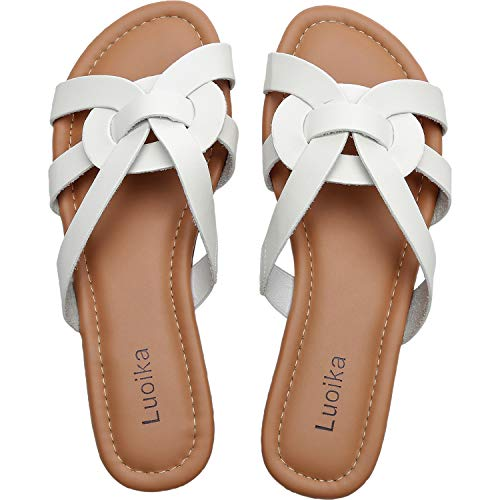 Luoika-Womens-Wide-Width-Slide-Sandals-Slip-On-Flat-Open-Toe-Casual-Summer-Shoes190101White13-0