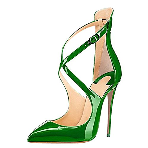 Onlymaker-Ladies-Fashion-Pointed-Toe-High-Slim-Heels-Criss-Cross-Stiletto-Pumps-for-Wedding-Party-Dress-Green-Mirror-13-M-US-0