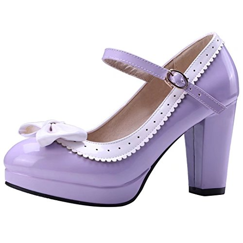 Vitalo-Womens-High-Block-Heel-Platform-Patent-Mary-Jane-Ankle-Strap-Bow-Pump-Court-Shoes-Purple-0
