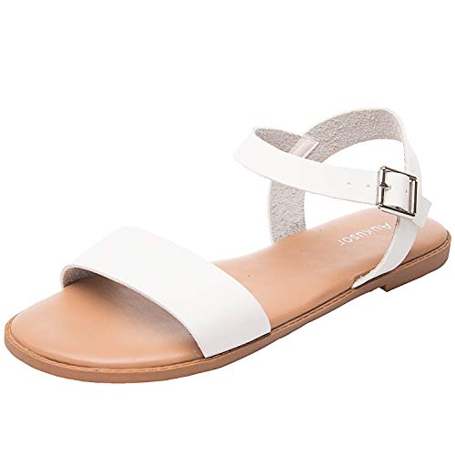 Womens-Wide-Summer-Flat-Sandals-Open-Toe-One-Band-Ankle-Strap-Flexible-Shoes180307-White13-0