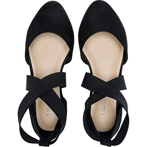 Womens-Wide-Width-Flat-Sandals-Elastic-Cross-Strap-Pointy-Toe-Casual-Summer-Shoes181143Black13-0