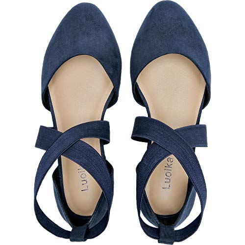 Womens-Wide-Width-Flat-Sandals-Elastic-Cross-Strap-Pointy-Toe-Casual-Summer-Shoes181143Blue125-0