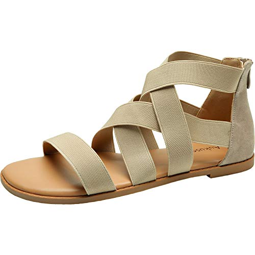 Womens-Wide-Width-Flat-Sandals-Open-Toe-One-Band-Ankle-Strap-Flexible-Buckle-Gladiator-Casual-Summer-Shoes181162-BeigeMF-125-0