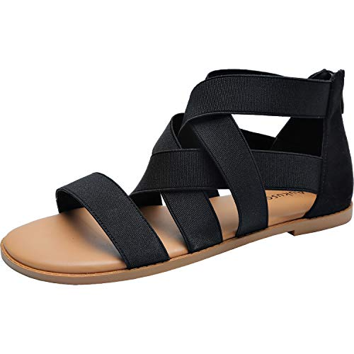 Womens-Wide-Width-Flat-Sandals-Open-Toe-One-Band-Ankle-Strap-Flexible-Buckle-Gladiator-Casual-Summer-Shoes181162-BlackMF-13-0