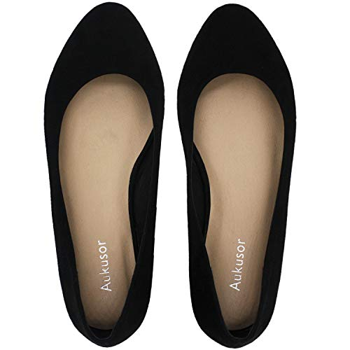 Womens-Wide-Width-Flat-Shoes-Comfortable-Classic-Pointy-Toe-Slip-On-Ballet-FlatBlack-Suede-18081813-0