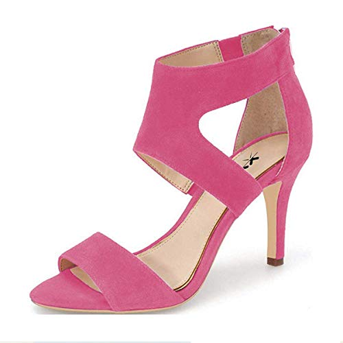 XYD-Prom-Dancing-Shoes-Elegant-Open-Toe-Strappy-Heeled-Sandals-Ankle-Wrap-Dress-Pumps-for-Women-Size-13-Hot-Pink-0