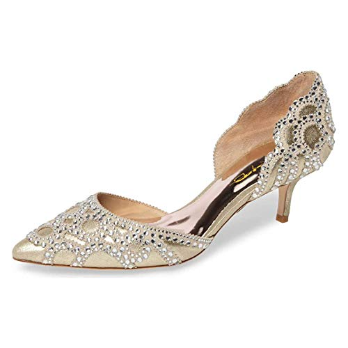 XYD-Women-DOrsay-Wedding-Pumps-Pointed-Toe-Low-Kitten-Heels-Slip-On-Rhinestones-Bridal-Shoes-Size-13-Gold-0