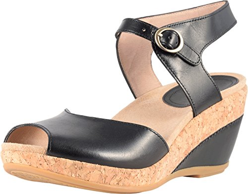 Dansko-New-Womens-Charlotte-Wedge-Sandal-Black-Full-Grain-39-0
