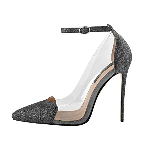 Onlymaker-Womens-Ankle-Strap-Pointed-Toe-Pumps-High-Heel-Glitter-Sandal-Clear-Stiletto-Grey-US14-0