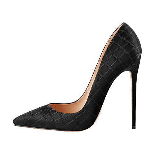 Onlymaker-Womens-Sexy-Pointed-Toe-High-Heels-Slip-On-Stiletto-Pumps-Office-Party-Wedding-Large-Size-Classic-Pumps-Solid-Black-Stone-Pattern-US-6-0