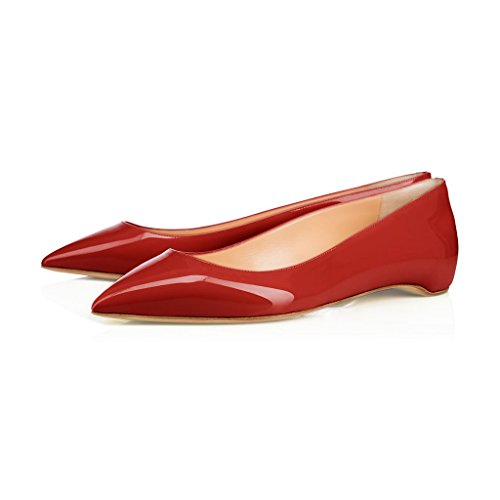 XYD-Pointy-Toe-Slip-On-Flats-Patent-Hidden-Low-Heel-Office-Daily-Walking-Shoes-for-Women-Size-13-Scarlet-0