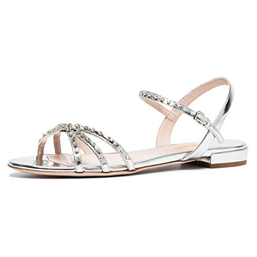 XYD-Women-Comfortable-Open-Toe-Rhinestone-Strappy-Flat-Sandals-Slingback-Low-Heel-Slip-On-Dress-Shoes-13-Silver-0