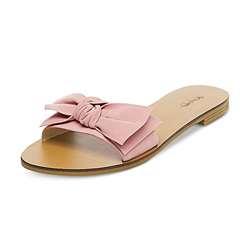 XYD-Women-Cute-Low-Heel-Bows-Slippers-Slide-Sandals-Slip-On-Clogs-Mules-Open-Toe-Flats-Pumps-Shoes-Size-13-Pink-0