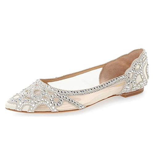 XYD-Women-Elegant-Pointed-Toe-Rhinestone-Flats-Mesh-Slip-On-Low-Heel-Wedding-Bride-Dress-Shoes-Size-13-Ivory-0