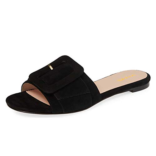 XYD-Women-Open-Toe-Flats-Sandals-No-Heel-Comfortable-Summer-Slide-Shoes-with-Oversized-Buckle-Size-13-Black-0