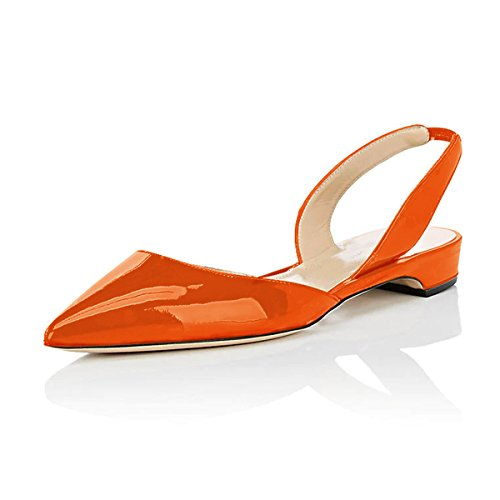 XYD-Women-Slingback-Flat-Sandals-Pointed-Toe-Low-Heel-Slip-On-DOrsay-Slide-Dress-Shoes-Size-13-Orange-0