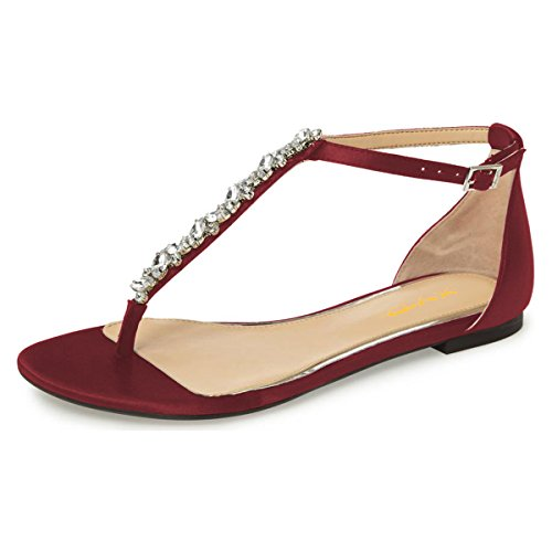 XYD-Women-T-Strap-Thong-Sandal-Flats-Rhinestone-Slide-Ankle-Strap-Flip-Flop-Shoes-with-Buckles-Size-13-Red-0
