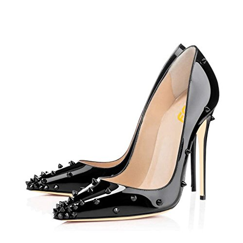 FSJ-Women-Classic-Studded-High-Heel-Pumps-with-Rivets-Pointy-Toe-Stiletto-Prom-Shoes-Size-85-Glossy-Black-0