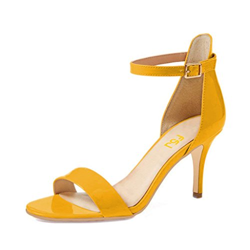 FSJ-Women-Comfy-Open-Toe-Summer-Sandals-Ankle-Strap-Kitten-Mid-Heels-Shoes-Patent-Leather-Size-10-Yellow-0