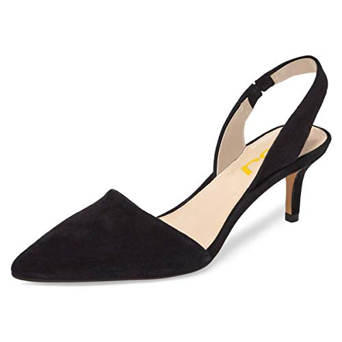 FSJ-Women-Fashion-Low-Kitten-Heels-Pumps-Pointed-Toe-Slingback-Sandals-Dress-Shoes-Size-12-Black-0