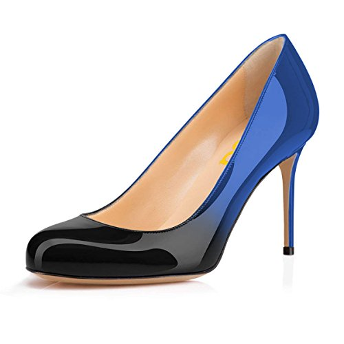 FSJ-Women-Formal-High-Heel-Pumps-Close-Toe-Slip-On-Business-Shoes-for-Office-Lady-Size-10-Blue-Black-9-cm-0