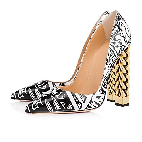 FSJ-Women-Gold-Metal-Chain-Chunky-High-Heel-Pointed-Toe-Slip-On-Fashion-Pumps-Shoes-Size-7-Black-White-Graffiti-0