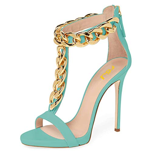 FSJ-Women-Golden-Open-Toe-Ankle-Straps-Sandals-High-Heels-Pumps-Stilettos-T-Straps-Metal-Chain-Shoes-Size-7-Turquoise-0