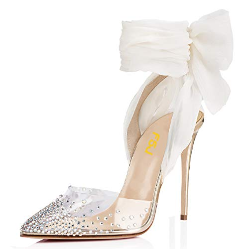 FSJ-Women-High-Heel-Ankle-Strap-Sandals-Pointed-Toe-Rivets-Pumps-PVC-Club-Shoes-with-Studs-Size-8-Gold-0