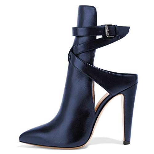 FSJ-Women-Pointed-Toe-Chunky-High-Heels-Strappy-Dress-Bootie-Pumps-Ankle-Wrap-Slingback-Sandals-Shoes-Size-9-Navy-0