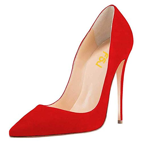 FSJ-Women-Sexy-Suede-Pointed-Toe-Pumps-12-cm-High-Heels-Stilettos-Prom-Shoes-Size-7-Red-0