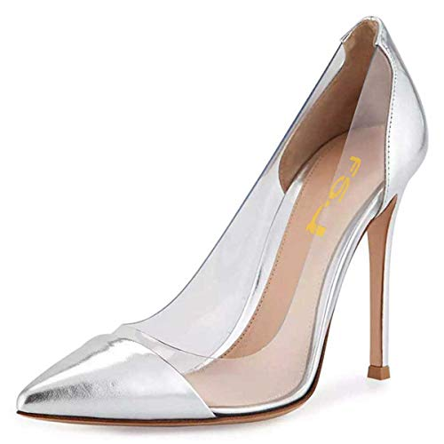 FSJ-Women-Silver-Stiletto-Clear-Pumps-High-Heels-Slip-On-Sandals-Party-Wedding-Dress-Elegant-Shoes-Size-9-0