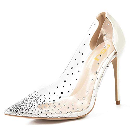 FSJ-Women-Studded-Pointed-Toe-Transparent-Pumps-High-Heels-Slip-On-Glitter-Prom-Party-Dress-Shoes-Size-9-Ivory-0