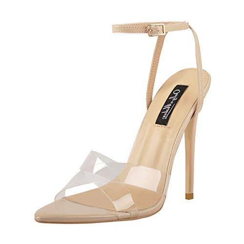 Onlymaker-Womens-Clear-Heels-with-Ankle-Strap-Pointed-Open-Toe-Stilettos-Heel-Cross-Band-Comfort-Sandals-Beige-Size-13-0