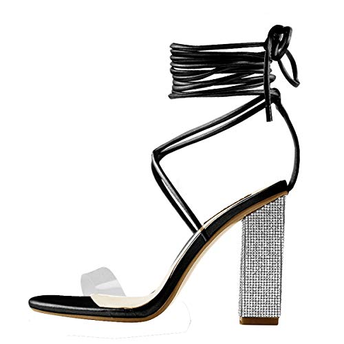 Onlymaker-Womens-Gladiator-Ankle-Strap-Clear-Rhinestone-Lace-up-Chunky-High-Heel-Strappy-Sandals-Black-13-M-US-0
