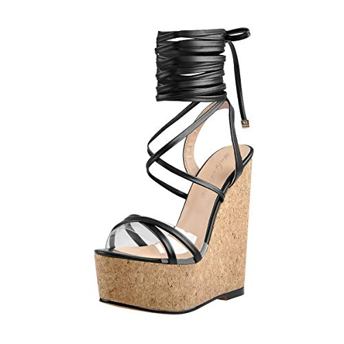 Onlymaker-Womens-Strappy-High-Heels-Black-Open-Toe-Platform-Wedge-Clear-Band-Sandals-Size-13-0