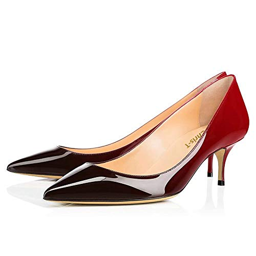 Spun-Sugar-Womens-Slip-On-55CM-Kitten-Heels-Pointed-Toe-Low-Heels-Office-Pumps-Red-Black-0