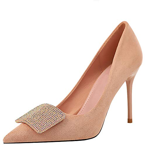 Themost-Womens-Sexy-Pointed-Toe-High-Heels-Slip-On-Stiletto-Pumps-Large-Size-Basic-Shoes-Suede-Pump-Pink-0