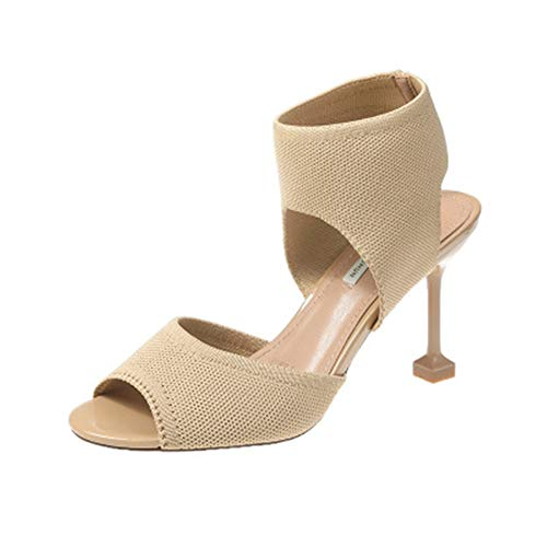 Womens-Chunky-Block-Strappy-High-Heel-Sandals-Cross-Strappy-Ankle-Strap-Classic-Open-Toe-Shoes-BeigeLable-3765-BM-US-Women-0