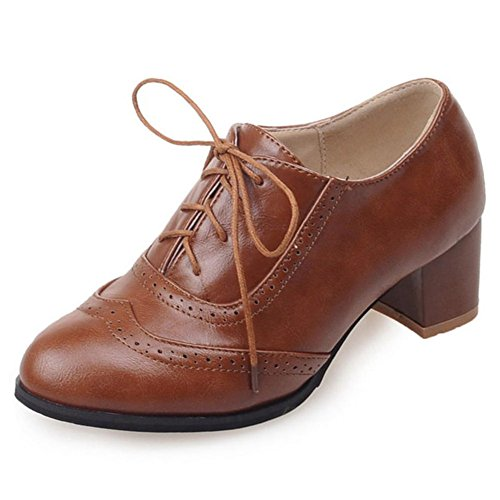 DoraTasia-Womens-Vintage-Lace-Up-Pu-Leather-Block-Heel-Oxfords-Ankle-Booties-Cuban-Brogues-Dress-Shoes-0