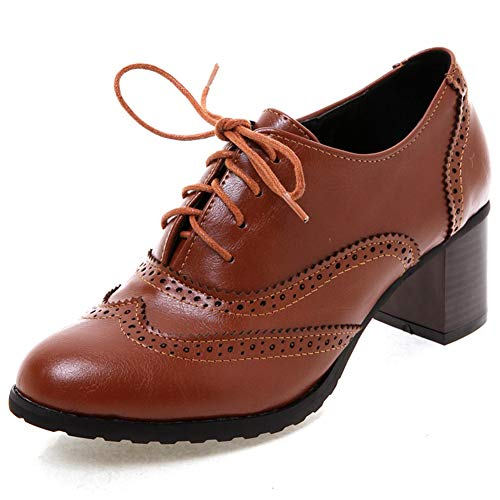 DoraTasia-Womens-Vintage-Lace-Up-Pu-Leather-Full-Brogue-Oxfords-Dress-Shoes-Ankle-Booties-Cuban-Brogues-Chunky-Heel-0