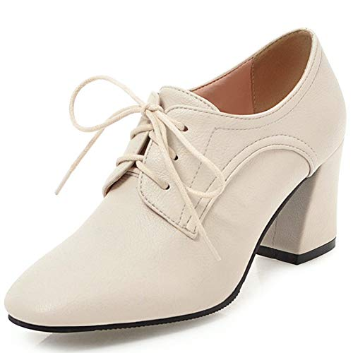 DoraTasia-Womens-Vintage-Lace-Up-Pu-Leather-lace-up-Oxfords-Dress-Shoes-Ankle-Booties-Cuban-Brogues-Chunky-Heel-Comfortable-Soft-Leather-Beige-White-0