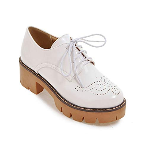 MIOKE-Womens-Round-Toe-Platform-Oxford-Pumps-Lace-Up-Wingtip-Chunky-Mid-Heel-Vintage-Brogue-Dress-Shoes-White-0