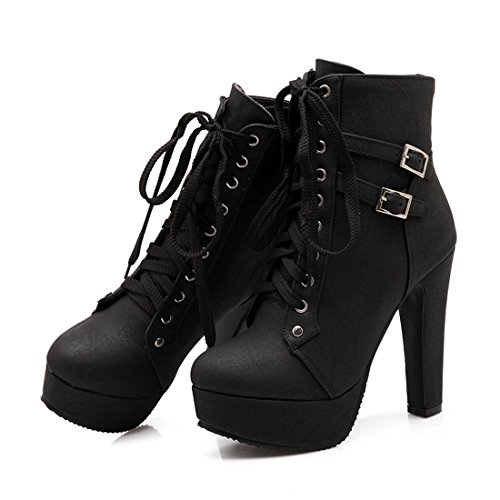 Susanny-Women-Autumn-Round-Toe-Lace-Up-Ankle-Buckle-Chunky-High-Heel-Platform-Knight-Black-Martin-Boots-155-B-M-US-CN-Size50-0