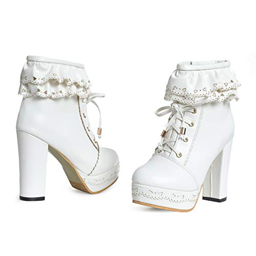 Susanny-Womens-Office-Party-Sweet-Lolita-Platform-Chunky-High-Heel-PU-Lace-up-White-Ankle-Boots-105-B-M-US-0