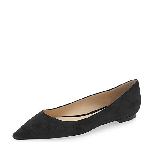 YDN-Women-Classic-Pointy-Toe-Flats-Suede-Casual-Shoes-Low-Cut-Slip-On-Soft-Black-13-0