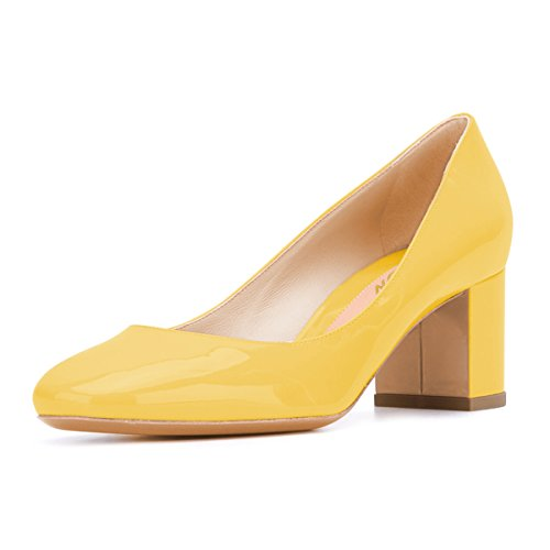 YDN-Women-Comfy-Round-Toe-Block-Low-Heel-Pumps-Slip-on-Dress-Office-Business-Shoes-Yellow-13-0
