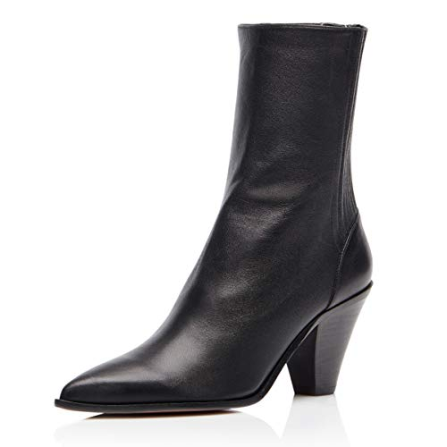 FSJ-Women-Dressy-Pointed-Closed-Toe-Ankle-Boots-Cone-Chunky-High-Heel-Booties-Zipper-Block-Shoes-Size-4-Black-PU-0