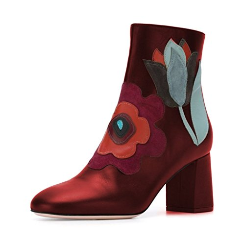 FSJ-Women-Fabulous-Round-Toe-Ankle-Boots-Chunky-Heels-Floral-Sewed-Comfortable-Shoes-Size-4-Red-0